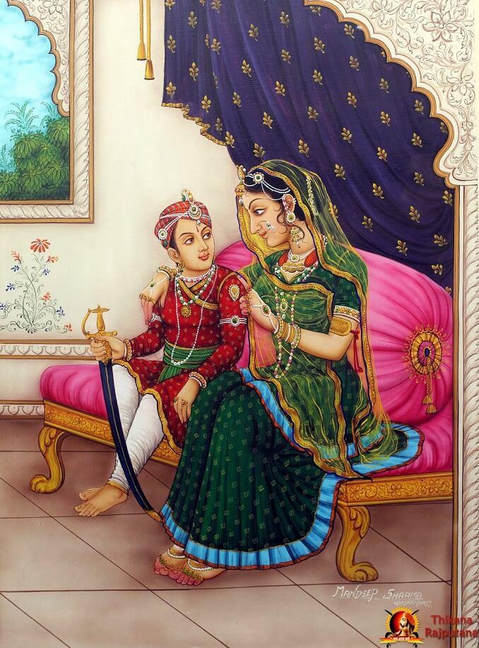 Maharana Pratap With His Mother Maharani Saheba Hukum Jaivantibaiji Chauhan